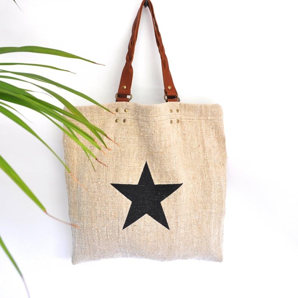Bessie Linen Tote - Black star