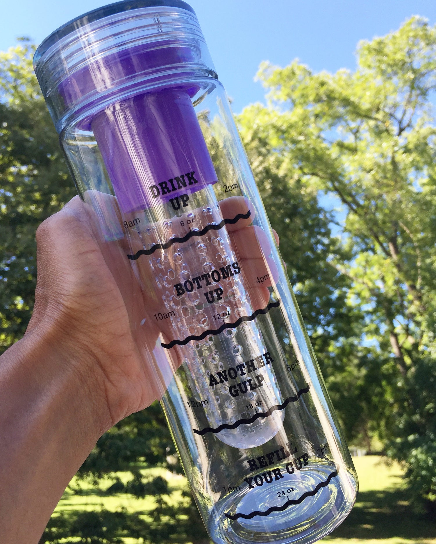 Image of Infusion Water Bottle with Drink Tracker - Purple