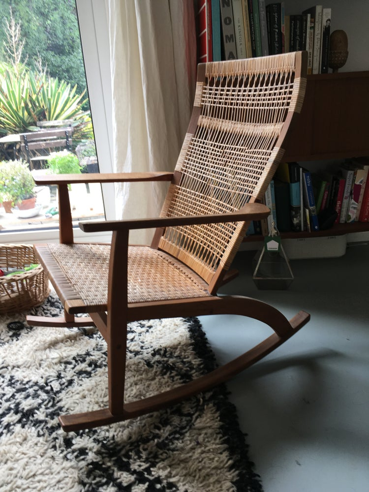 Image of Vintage Danish Teak and Cane Rocking Chair by Hans Olsen c1960s