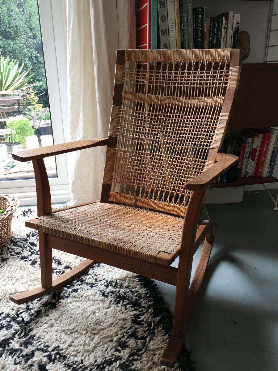 uk availability c22d1 11176 Vintage Danish Teak and Cane Rocking Chair by Hans Olsen c1960s