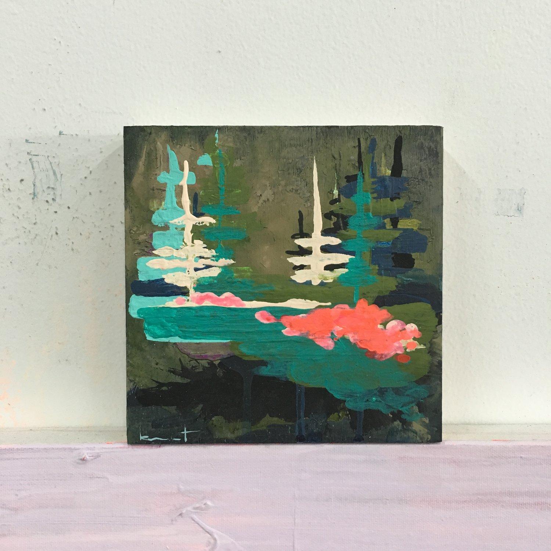 Image of tiny painting no. 52 (moss, black, poppy)