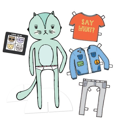 Image of Grouchy Cat Paperdoll
