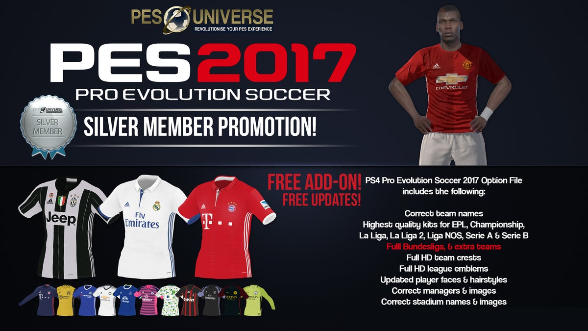 Silver Membership w/ PES 2017 Option File Add on!