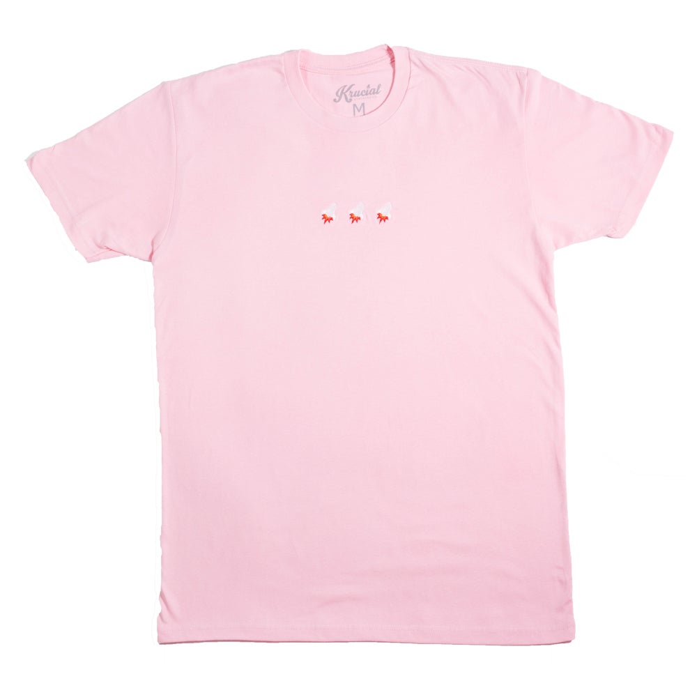 Image of Triple Rocket Embroidered Tee (Light Pink)