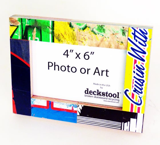 Image of Picture Frame for 4x6 photo. Made from Recycled Skateboards by Deckstool