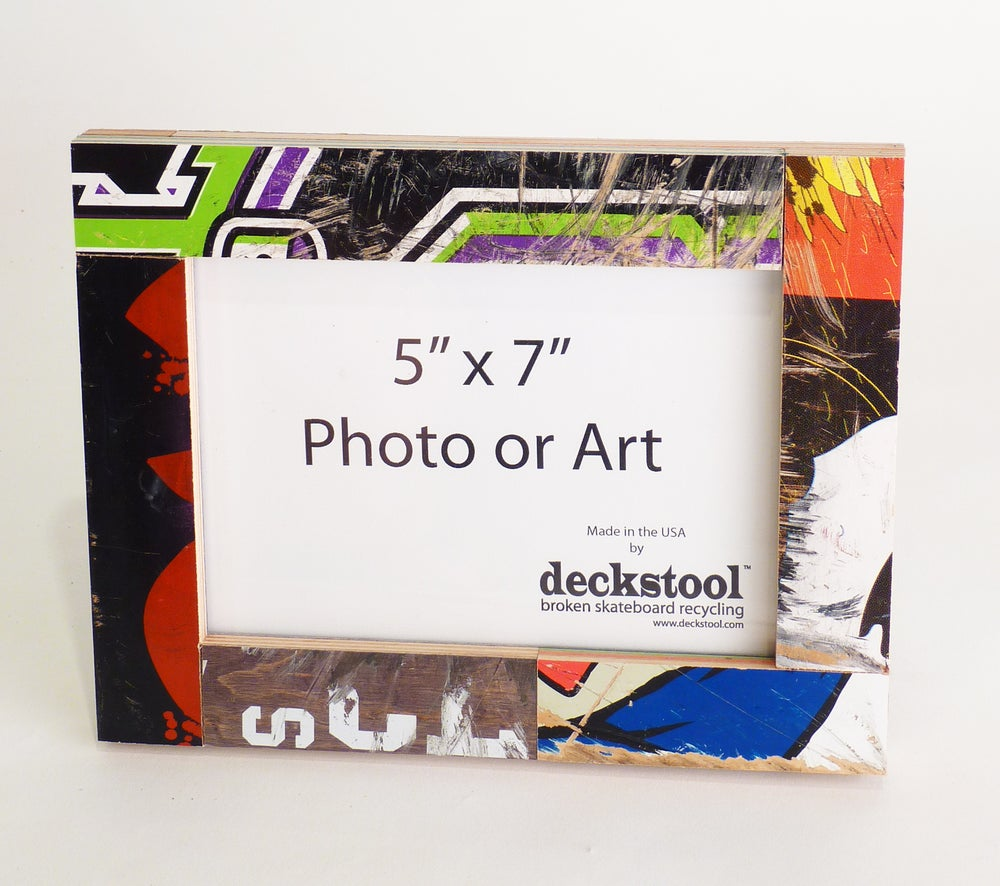 Image of Picture Frame for 5x7 photo. Made from Recycled Skateboards by Deckstool