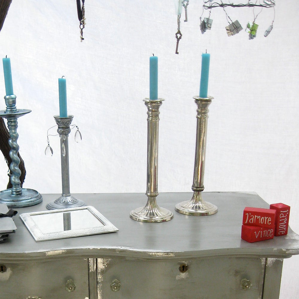 Image of Tall Silver Pedistal Candleholders
