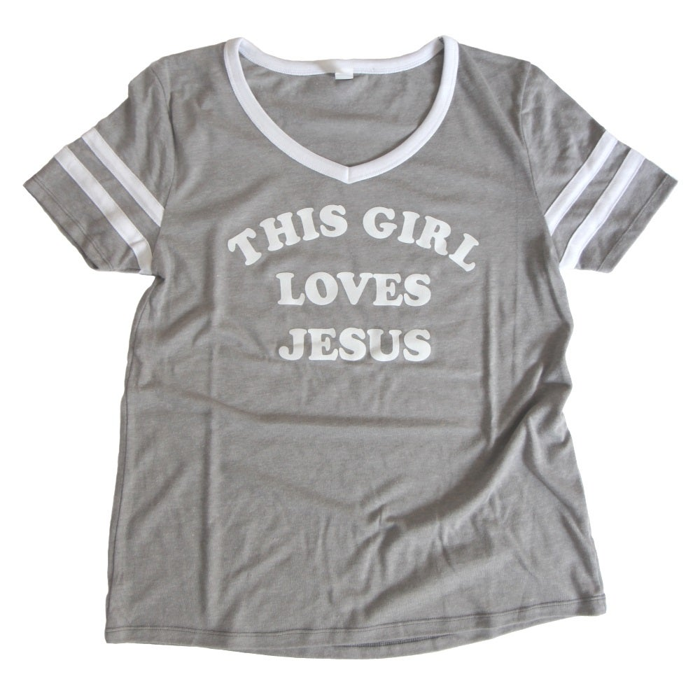 Image of THIS GIRL LOVES JESUS WOMEN'S FOOTBALL TEE