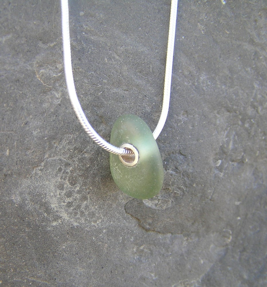 Image of Silver rivet seaglass pendant