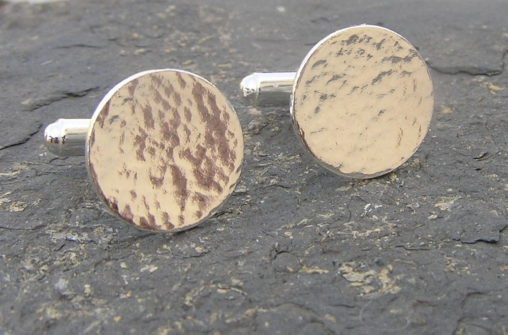 Image of Silver hammered cufflinks