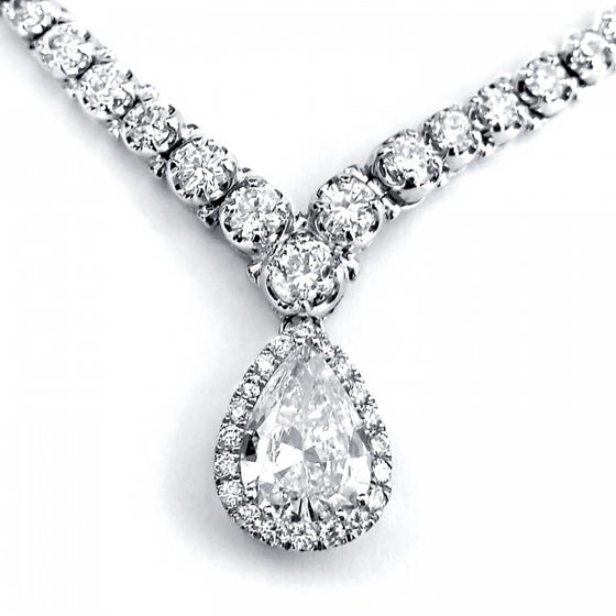 """Image of  PEAR SHAPE DIAMOND ETERNITY TENNIS NECKLACE 10 2/5 CTW IN 18K WHITE GOLD (16"""" CHAIN)"""