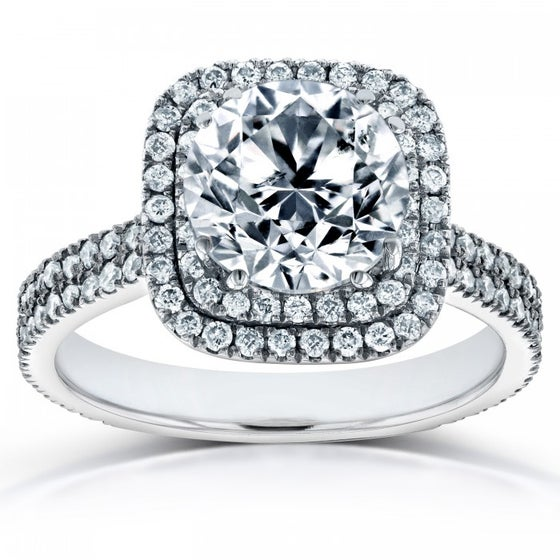 Image of DOUBLE HALO ROUND DIAMOND ENGAGEMENT RING 2 1/4 CTW IN 14K WHITE GOLD