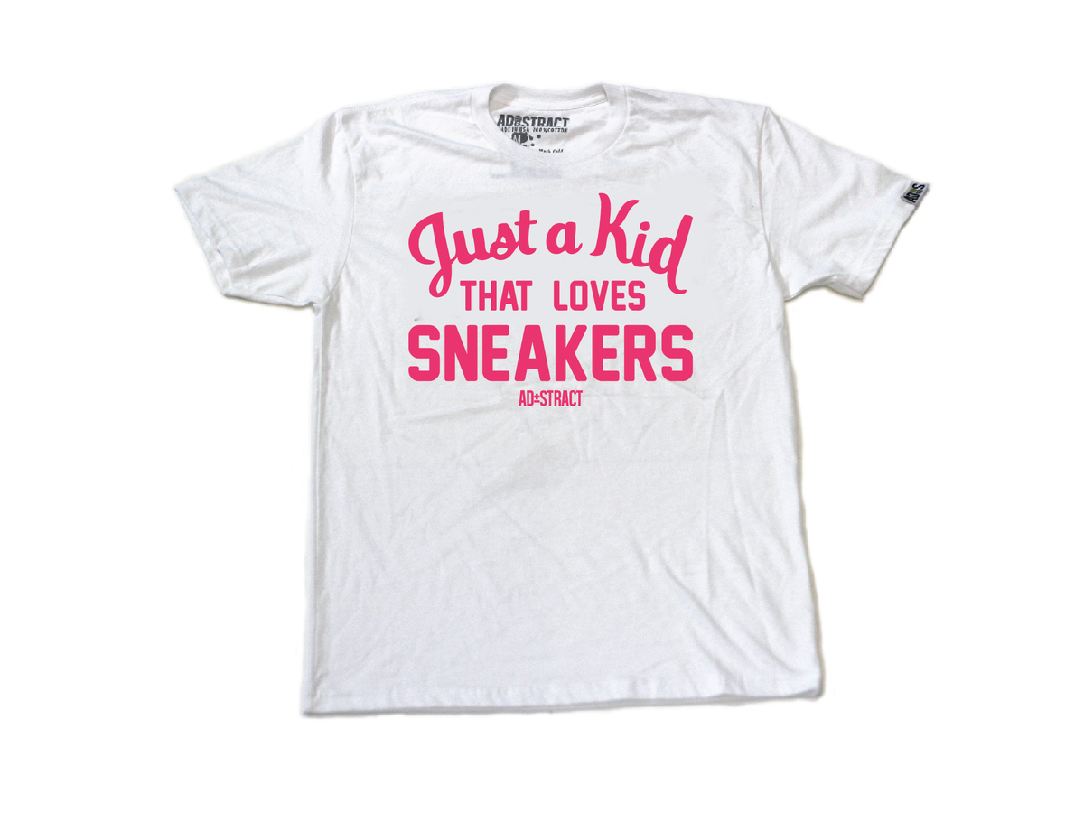 """Image of JUST A KID THAT LOVES SNEAKERS """"PINK"""" TSHIRT (MENS)"""