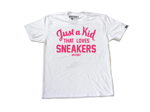 "Image of JUST A KID THAT LOVES SNEAKERS ""PINK"" TSHIRT (MENS)"