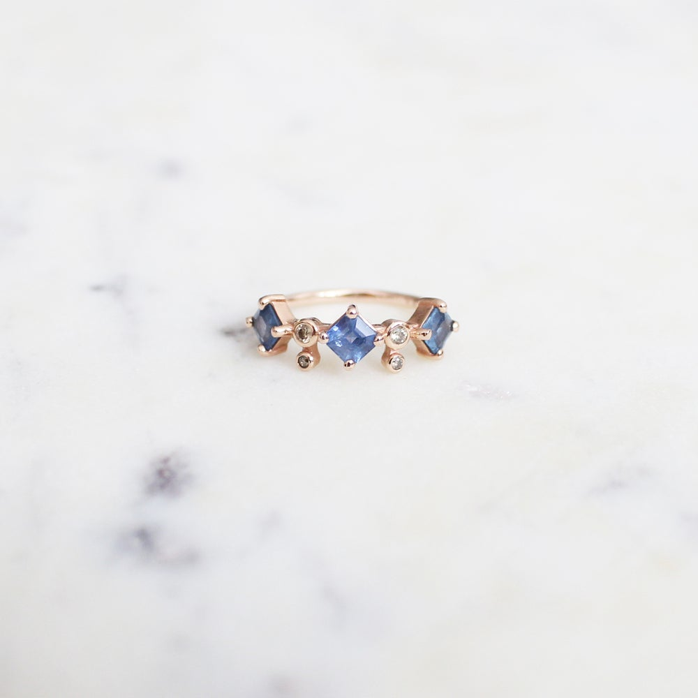 Image of Odette 3 Stone Sapphire Ring