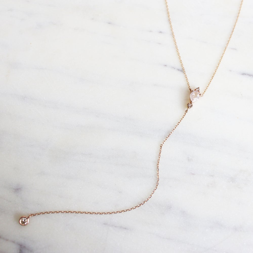 Image of Victoria Pink Sapphire Lariat Necklace