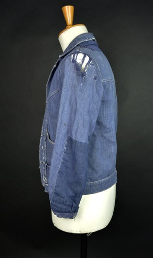 Image of 1950'S FRENCH INDIGO DENIM JACKET DISTRESSED フレンチ襤褸デニムジャケット