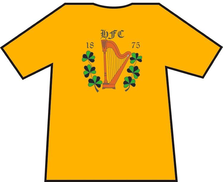 Image of Hibs, Hibernian, HFC 1875 Harp & Shamrock T-shirts.