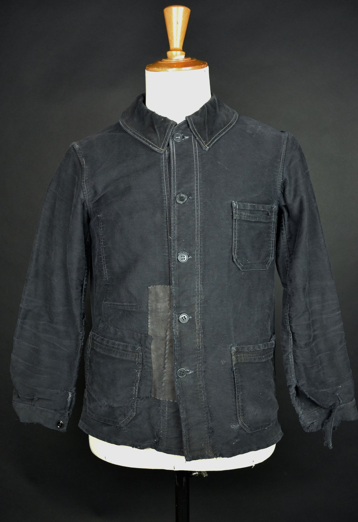 Image of 1930'S FRENCH BLACK MOLESKIN WORK JACKET PATCHED