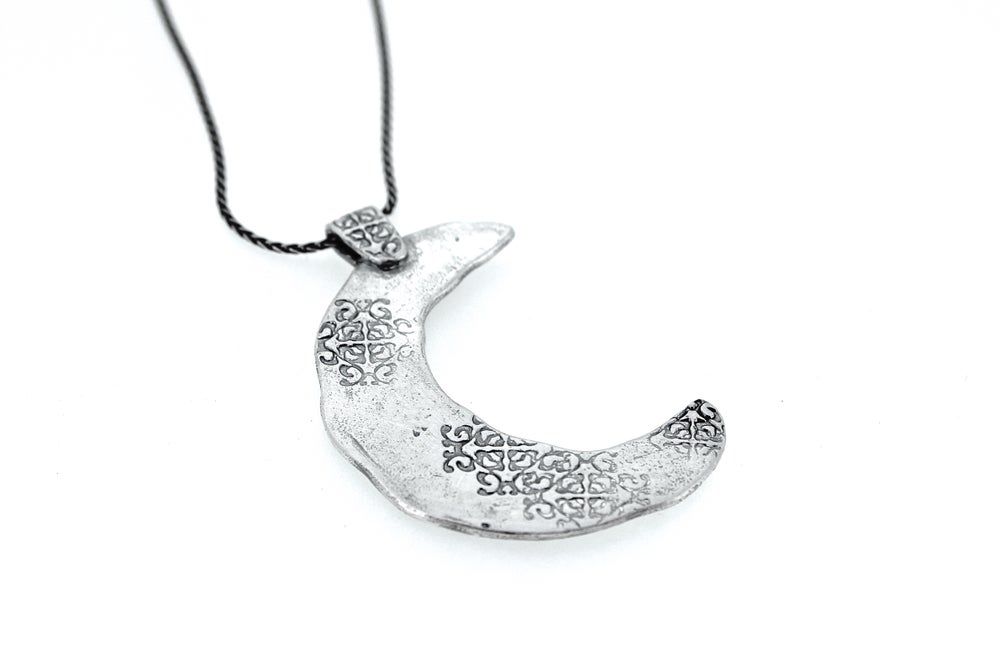 Image of Rumi quote crescent moon necklace