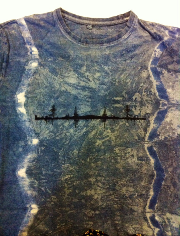 Image of Forest print Indigo and walnut t-shirt