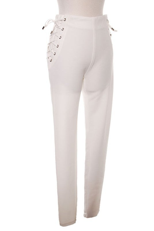Image of White Side LaceUp Pants
