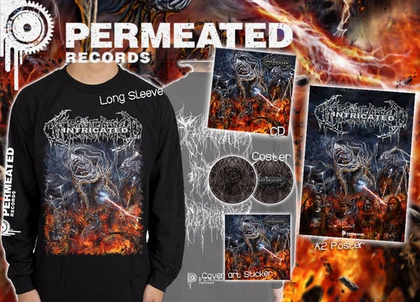 Image of Intricated - Vortex Of Fatal Depravity CD + Longsleeve + Poster + Coster Combo