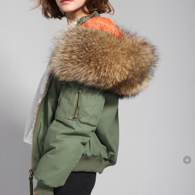 Image of Bomber Jacket w/ Real Fur Hood