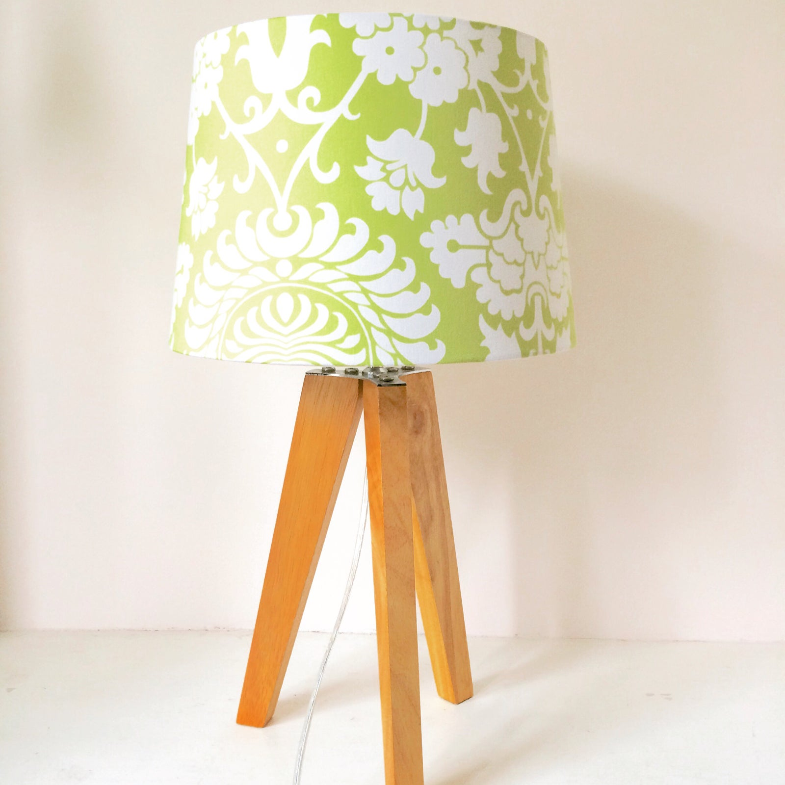 Image Of Lime Green And White Tapered Handmade Lampshade ...
