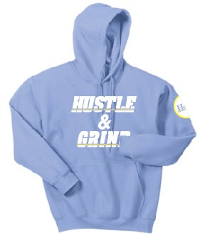 Image of Hustle & Grind San Diego Charger themed hoodie Powder Blue.