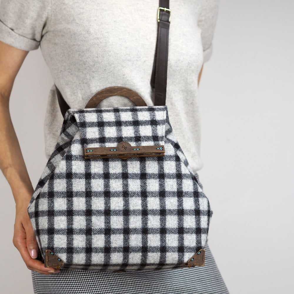 Image of Shoulder Handbag with Strap in Banff Wool Handmade in London England