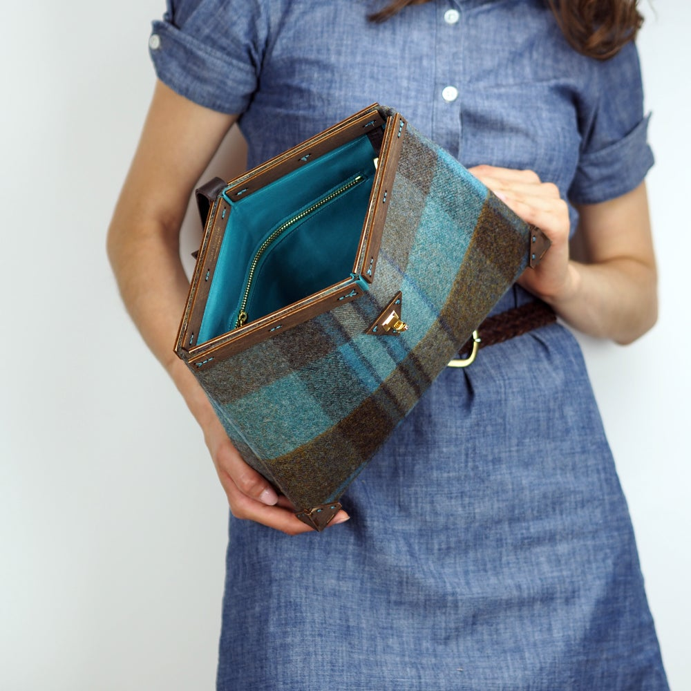 Image of Framed Clutch in Longleat Wool Handmade in London England