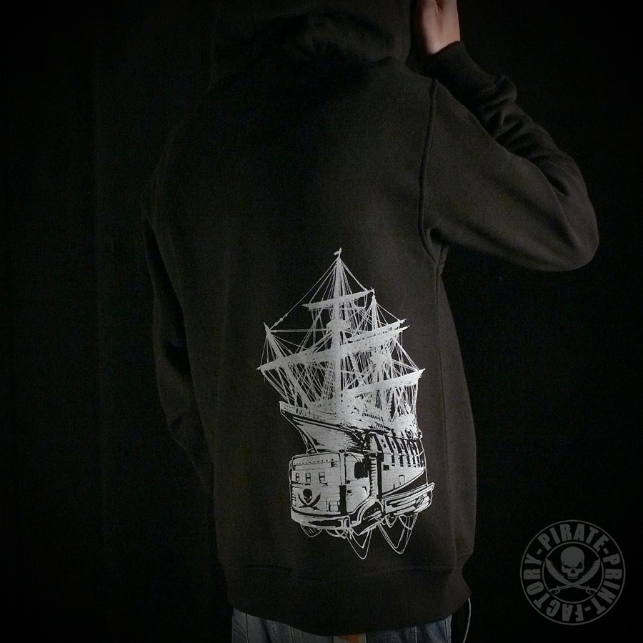Image of Sweat capuche zip Pirate Boat Noir