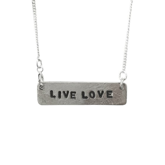 Image of Stamped Necklace Live Love