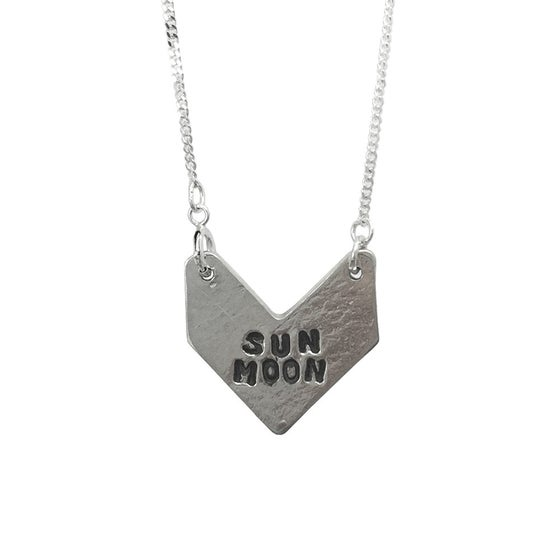 Image of Stamped Necklace Sun Moon Arrow