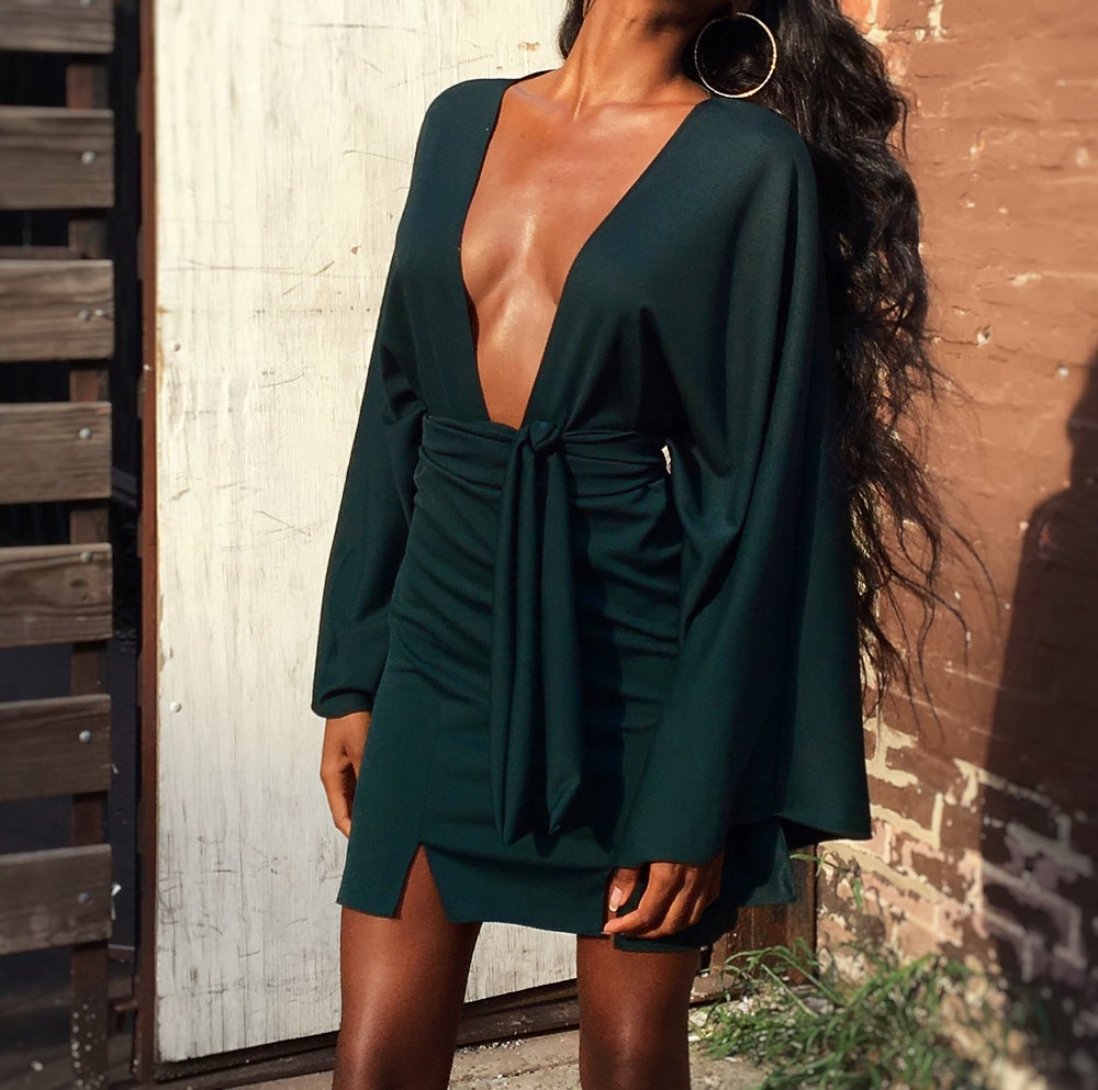Image of 'Eliza' Deep Plunge Dress - Emerald