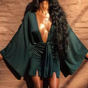 Image of 'Eliza' Deep Plunge Dress - Emerald