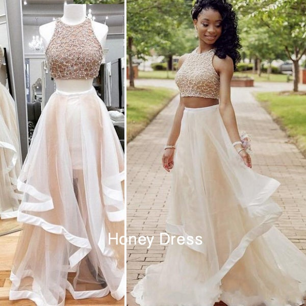 Image of Glamorous Ivory Tulle Halter A-line Two-Piece Prom Dress