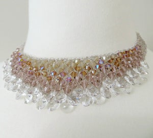 Image of Ivory crystal drops knitted wire choker