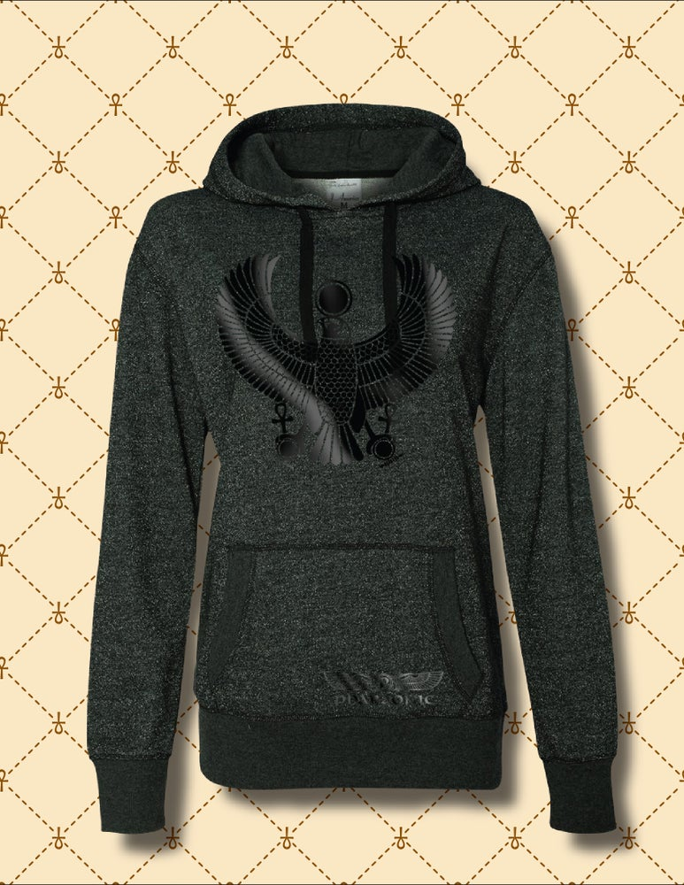 Image of WOMENS BLACK ON BLACK HRU GLITTER SPARKLE HOODIE