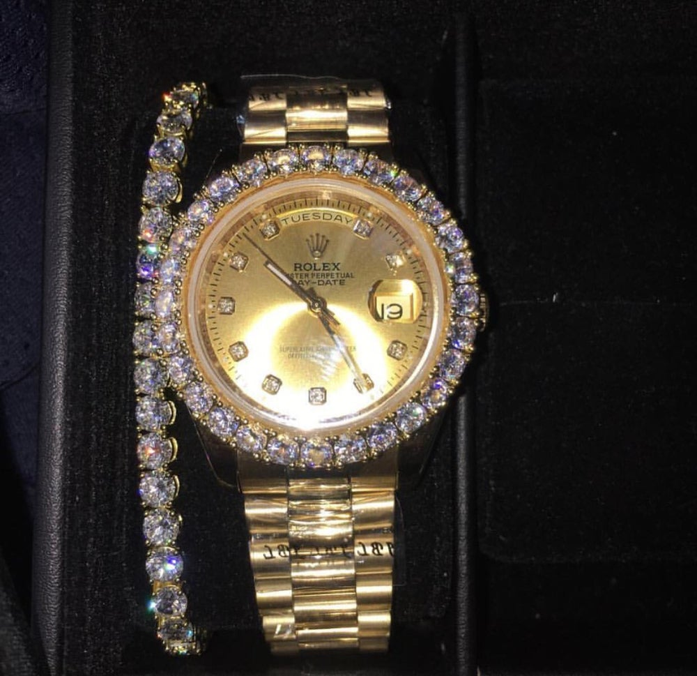 Gold Rolex Presidential Day Date Custom Diamond Bezel Lab Diamonds