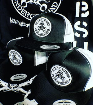 Image of BSU Target Patch Hat Black/White 5 panel mesh snapback hat