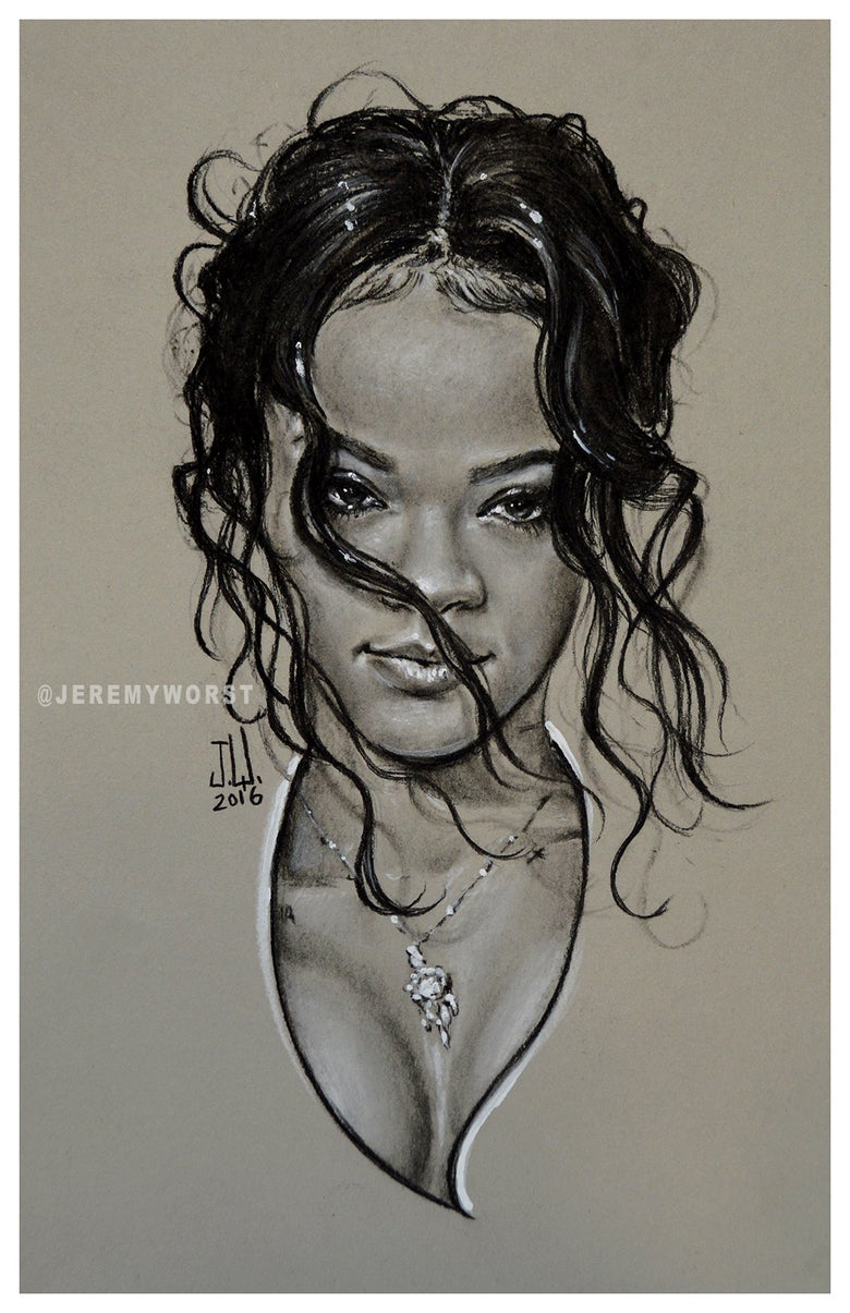 "Image of JEREMY WORST ""RiRi "" Sketch Artwork Signed Fine Art Print Great gift for Her Rihanna navy"