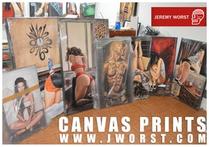 Image of JEREMY WORST Back at it Again Artwork Signed Print poster Beach Bikini sexy red sky blue