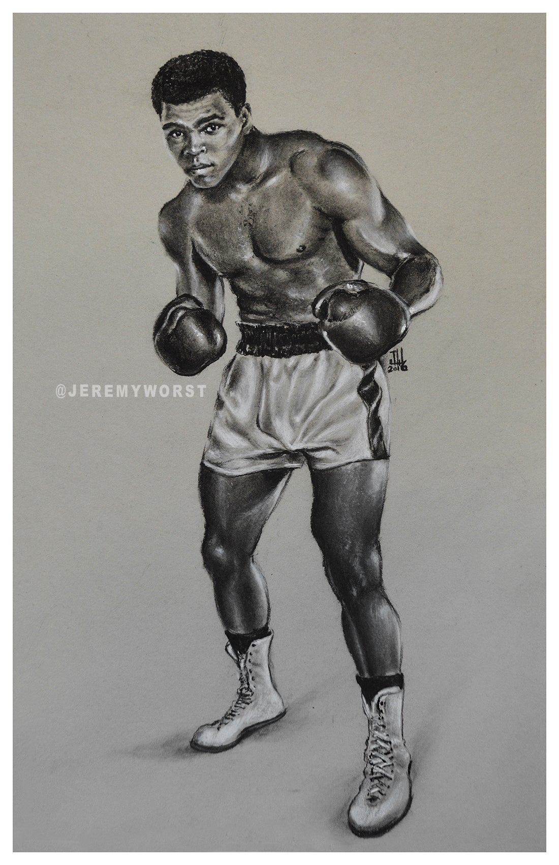 "Image of JEREMY WORST "" Muhammad Ali "" Sketch Artwork Signed Fine Art Print Great gift Cassius Clay"