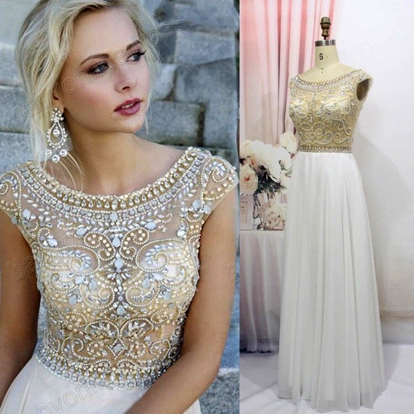 Image of White Chiffon A Line Beaded Top Illusion Prom Dresses With V-Back Zipper