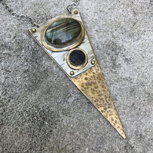 Image of Triangle Labradorite and Black Druzy Necklace