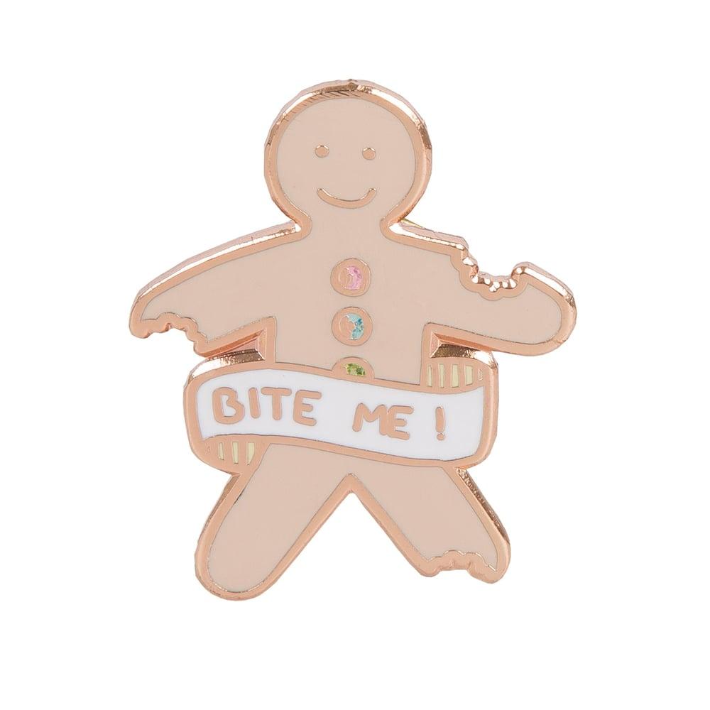 Image of 'Bite Me' Gingerbread Man Enamel Pin