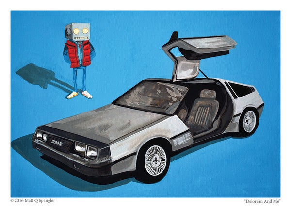 DeLorean and Me Print - Matt Q. Spangler Illustration