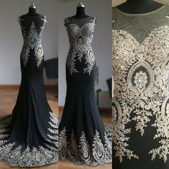 Gorgeous Black Mermaid Spandex Long Prom Gowns, Prom Dresses 2017, Black Gowns